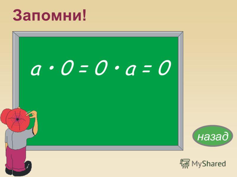 Запомни! а 0 = 0 а = 0 назад