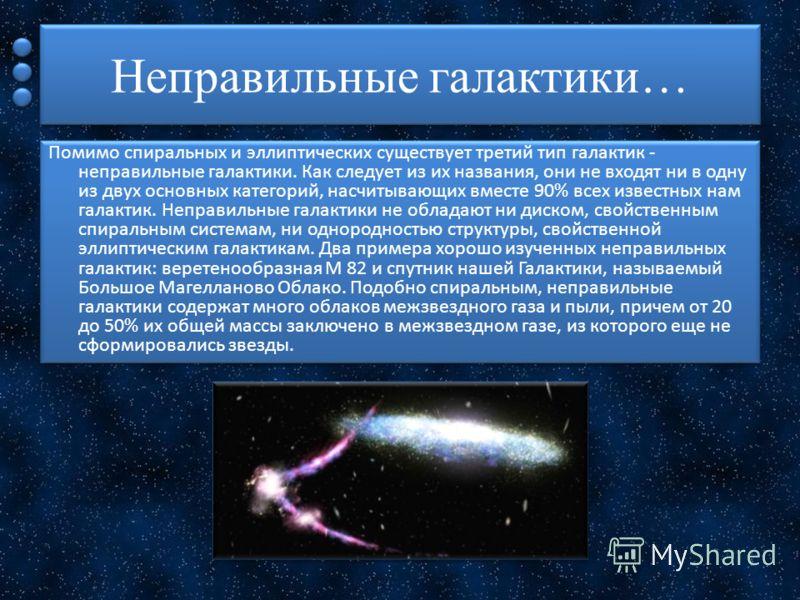 Неправильные галактики… Помимо спиральных и эллиптических существует третий тип галактик - неправильные галактики. Как следует из их названия, они не входят ни в одну из двух основных категорий, насчитывающих вместе 90% всех известных нам галактик. Н