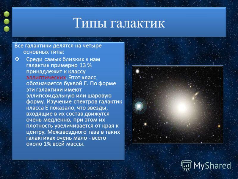 Типы галактик Все галактики делятся на четыре основных типа: Среди самых близких к нам галактик примерно 13 % принадлежит к классу эллиптических. Этот класс обозначается буквой Е. По форме эти галактики имеют эллипсоидальную или шаровую форму. Изучен