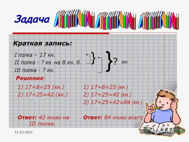 11.03.201114 Краткая запись: I полка – 17 кн. II полка - ? кн. на 8 кн. б. III полка - ? кн. } } ? Решение: 1) 17+8=25 ( кн.) 2) 17+25=42 ( кн.) Ответ: 42 книги на III полке. 1) 17+8=25 (кн.) 2) 17+25=42 (кн.) 3) 17+25+42=84 (кн.) Ответ: 84 книги все
