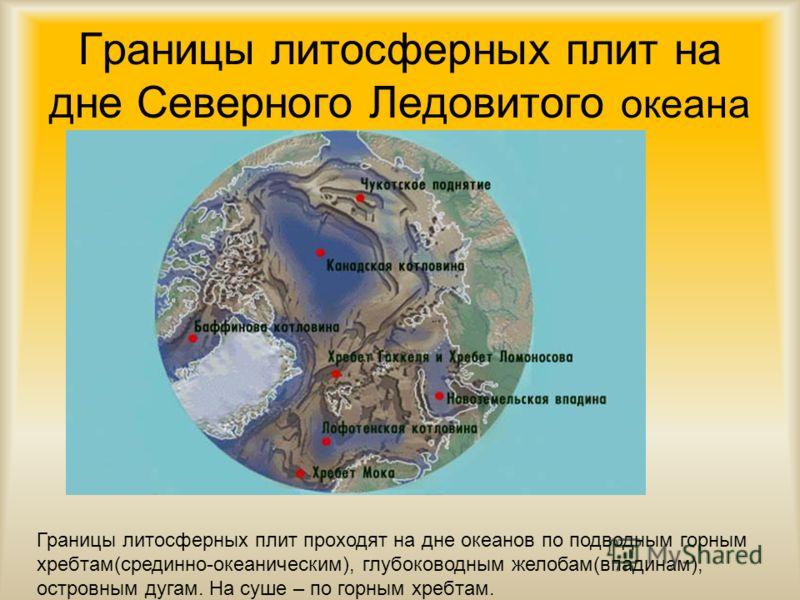 Границы литосферных плит на дне Северного Ледовитого океана Границы литосферных плит проходят на дне океанов по подводным горным хребтам(срединно-океаническим), глубоководным желобам(впадинам), островным дугам. На суше – по горным хребтам.