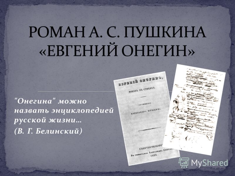 Онегина можно назвать энциклопедией русской жизни… (В. Г. Белинский)