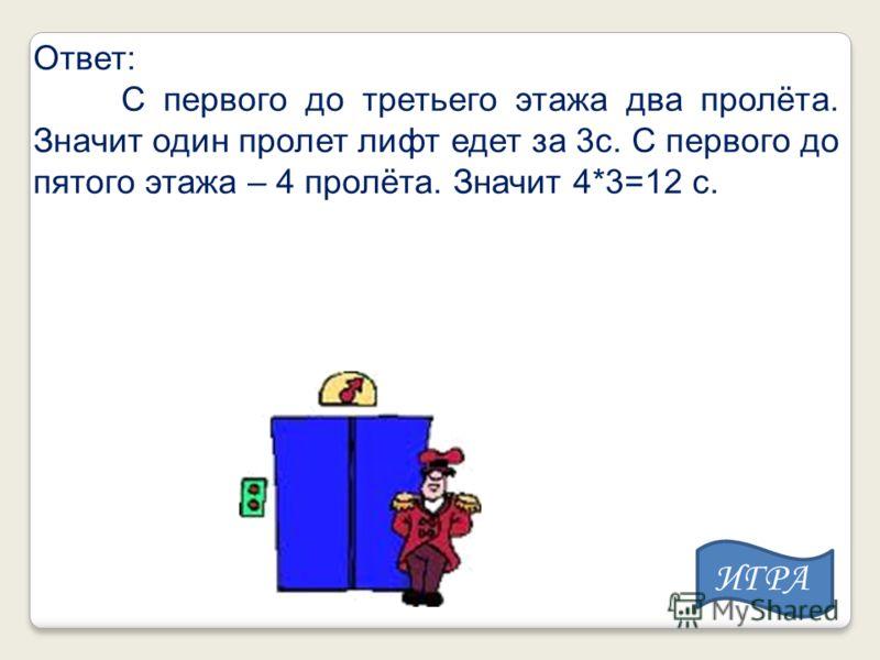 Ответ: С первого до третьего этажа два пролёта. Значит один пролет лифт едет за 3с. С первого до пятого этажа – 4 пролёта. Значит 4*3=12 с. ИГРА