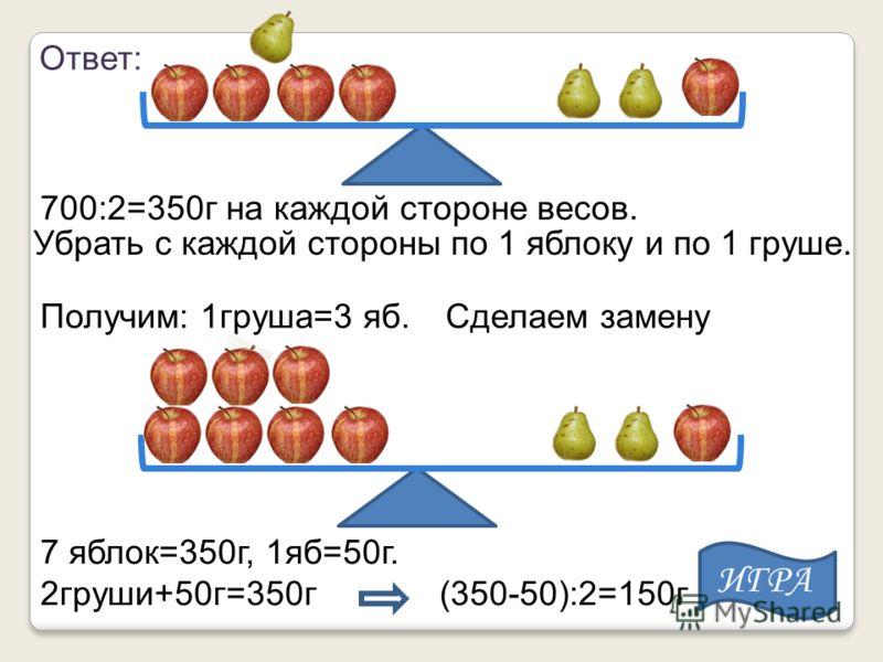 700:2=350г на каждой стороне весов. Убрать с каждой стороны по 1 яблоку и по 1 груше. Получим: 1груша=3 яб.Сделаем замену 7 яблок=350г, 1яб=50г. 2груши+50г=350г (350-50):2=150г Ответ: ИГРА