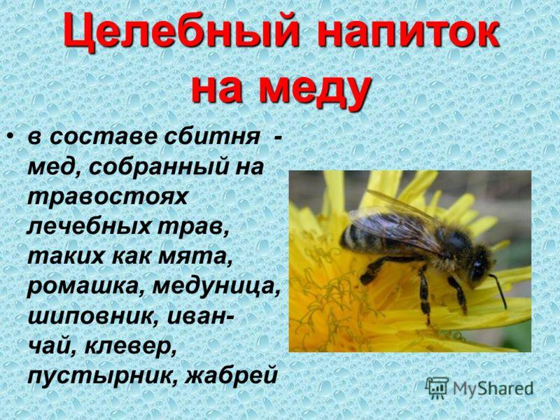 Целебный напиток на меду в составе сбитня - мед, собранный на травостоях лечебных трав, таких как мята, ромашка, медуница, шиповник, иван- чай, клевер, пустырник, жабрей