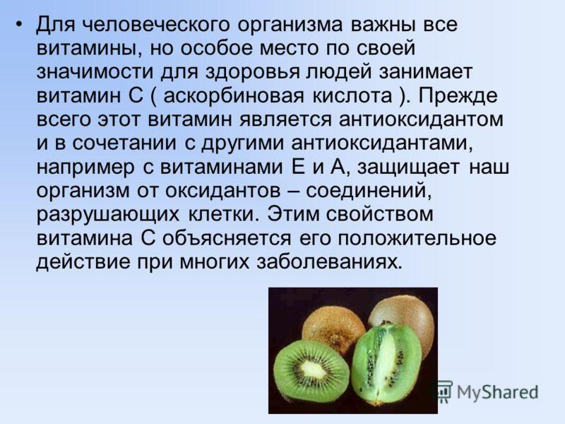 Для человеческого организма важны все витамины, но особое место по своей значимости для здоровья людей занимает витамин С ( аскорбиновая кислота ). Прежде всего этот витамин является антиоксидантом и в сочетании с другими антиоксидантами, например с