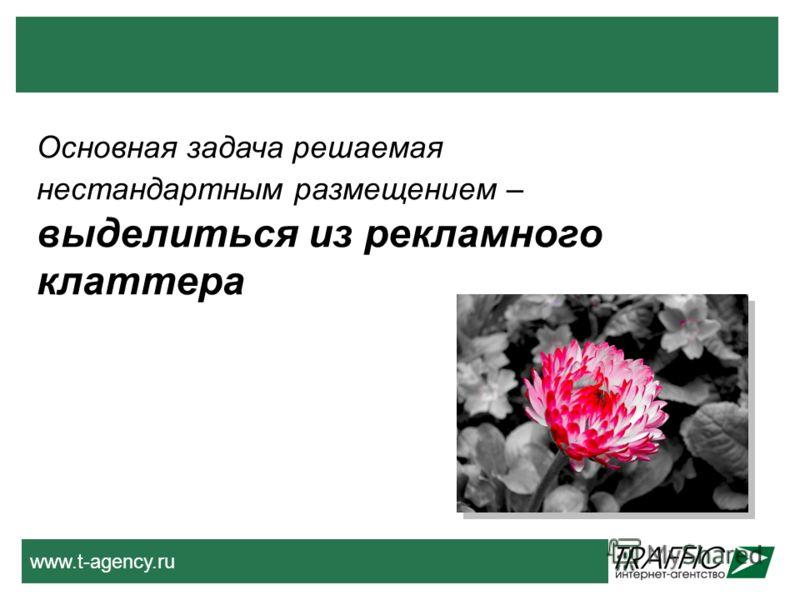 www.t-agency.ru Основная задача решаемая нестандартным размещением – выделиться из рекламного клаттера