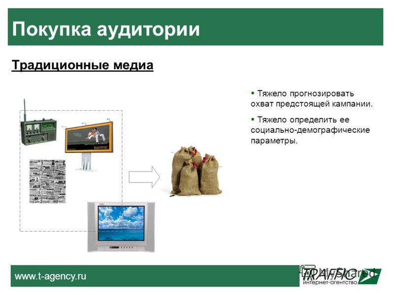 www.t-agency.ru Покупка аудитории Традиционные медиа Тяжело прогнозировать охват предстоящей кампании. Тяжело определить ее социально-демографические параметры.