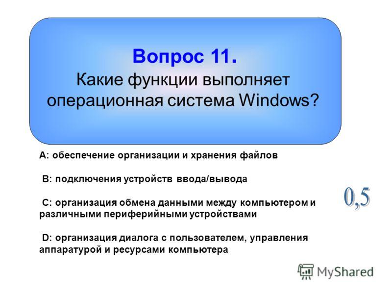 Вопрос 11. Какие функции выполняет операционная система Windows? A: обеспечение организации и хранения файлов B: подключения устройств ввода/вывода C: организация обмена данными между компьютером и различными периферийными устройствами D: организация