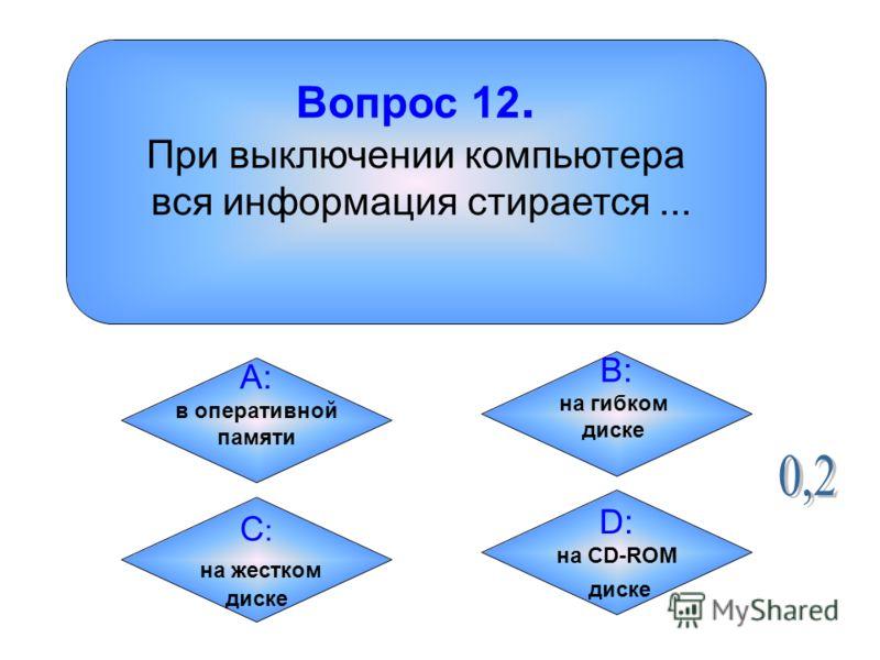 Вопрос 12. При выключении компьютера вся информация стирается... А: в оперативной памяти B: на гибком диске C:C: на жестком диске D: на CD-ROM диске