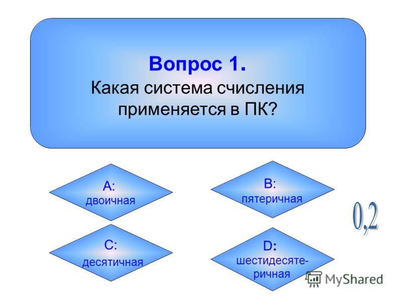 Вопрос 1. Какая система счисления применяется в ПК? А: двоичная B: пятеричная C: десятичная D:D: шестидесяте- ричная