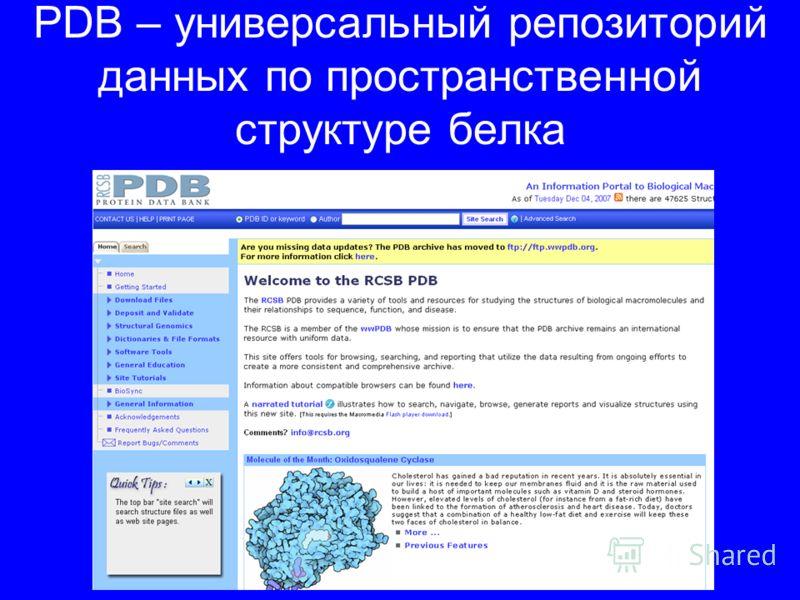 PDB – универсальный репозиторий данных по пространственной структуре белка