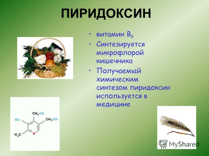 ПИРИДОКСИН витамин В 6 Синтезируется микрофлорой кишечника Получаемый химическим синтезом пиридоксин используется в медицине