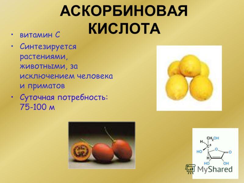 АСКОРБИНОВАЯ КИСЛОТА витамин С Синтезируется растениями, животными, за исключением человека и приматов Суточная потребность: 75-100 м