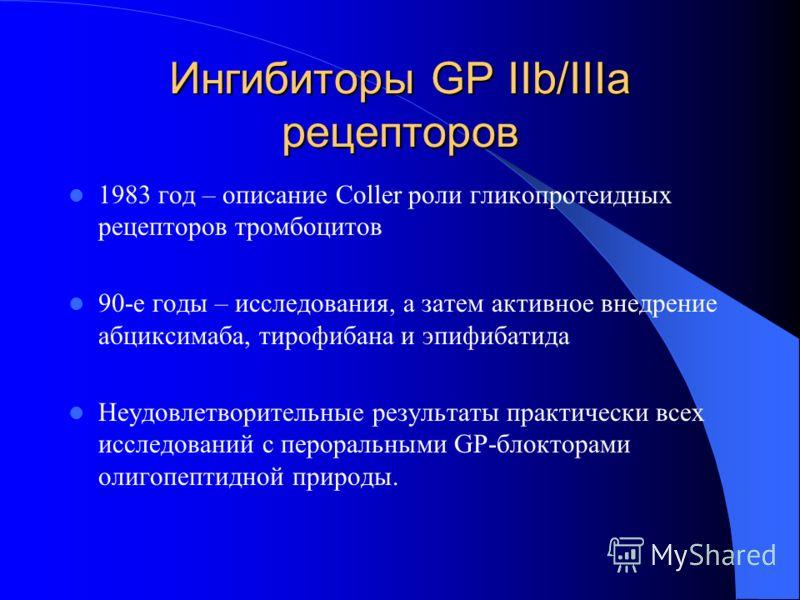 Ингибиторы GP IIb/IIIa рецепторов 1983 год – описание Coller роли гликопротеидных рецепторов тромбоцитов 90-е годы – исследования, а затем активное внедрение абциксимаба, тирофибана и эпифибатида Неудовлетворительные результаты практически всех иссле