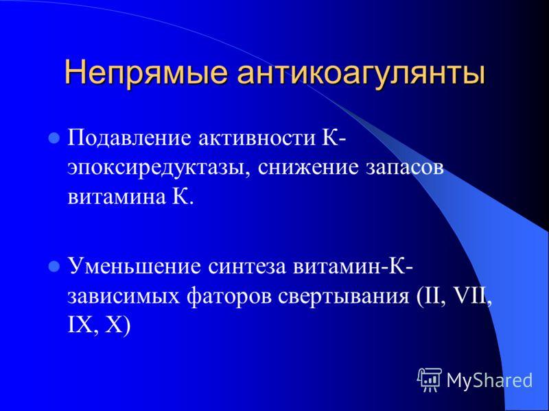 Непрямые антикоагулянты Подавление активности К- эпоксиредуктазы, снижение запасов витамина К. Уменьшение синтеза витамин-К- зависимых фаторов свертывания (II, VII, IX, X)
