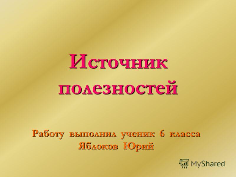 Источник полезностей Работу выполнил ученик 6 класса Яблоков Юрий