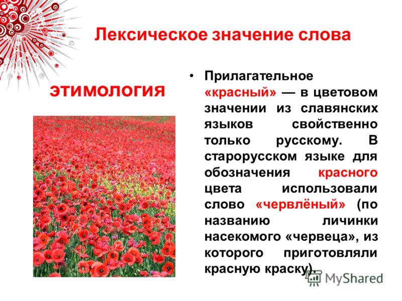 Лексическое значение слова Прилагательное «красный» в цветовом значении из славянских языков свойственно только русскому. В старорусском языке для обозначения красного цвета использовали слово «червлёный» (по названию личинки насекомого «червеца», из