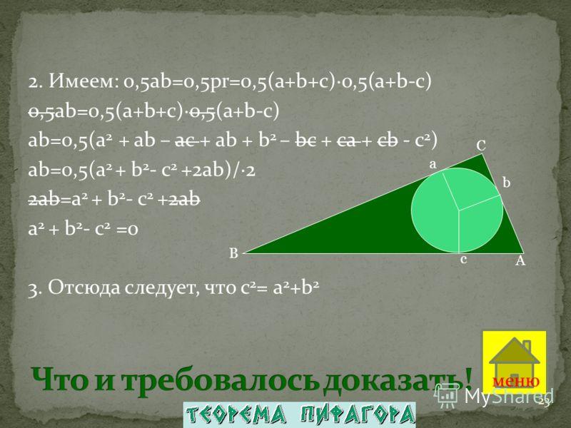 2. Имеем: 0,5ab=0,5pr=0,5(a+b+c)·0,5(a+b-c) 0,5ab=0,5(a+b+c)·0,5(a+b-c) аb=0,5(а 2 + ab – ac + ab + b 2 – bc + ca + cb - с 2 ) аb=0,5(а 2 + b 2 - с 2 +2ab)/·2 2аb=а 2 + b 2 - с 2 +2ab а 2 + b 2 - с 2 =0 3. Отсюда следует, что с 2 = а 2 +b 2 A C B a b