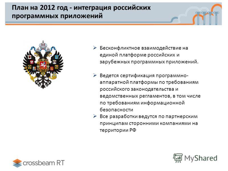 План на 2012 год - интеграция российских программных приложений Бесконфликтное взаимодействие на единой платформе российских и зарубежных программных приложений. Ведется сертификация программно- аппаратной платформы по требованиям российского законод