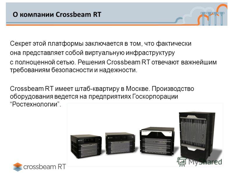 О компании Crossbeam RT Секрет этой платформы заключается в том, что фактически она представляет собой виртуальную инфраструктуру с полноценной сетью. Решения Сrossbeam RT отвечают важнейшим требованиям безопасности и надежности. Crossbeam RT имеет ш