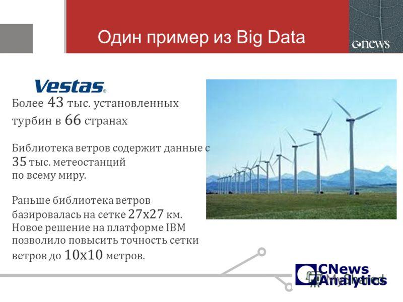 Один пример из Big Data Более 43 тыс. установленных турбин в 66 странах Библиотека ветров содержит данные с 35 тыс. метеостанций по всему миру. Раньше библиотека ветров базировалась на сетке 27х27 км. Новое решение на платформе IBM позволило повысить