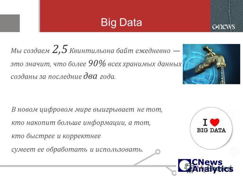 Big Data Мы создаем 2,5 Квинтильона байт ежедневно это значит, что более 90% всех хранимых данных созданы за последние два года. В новом цифровом мире выигрывает не тот, кто накопит больше информации, а тот, кто быстрее и корректнее сумеет ее обработ