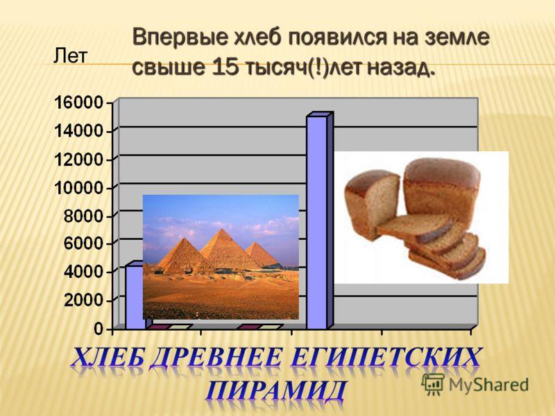 Лет Впервые хлеб появился на земле свыше 15 тысяч(!)лет назад.