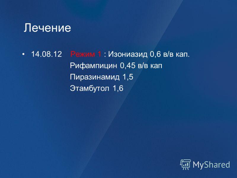 Лечение 14.08.12 Режим 1 : Изониазид 0,6 в/в кап. Рифампицин 0,45 в/в кап Пиразинамид 1,5 Этамбутол 1,6