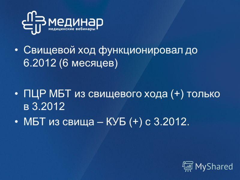 Свищевой ход функционировал до 6.2012 (6 месяцев) ПЦР МБТ из свищевого хода (+) только в 3.2012 МБТ из свища – КУБ (+) с 3.2012.
