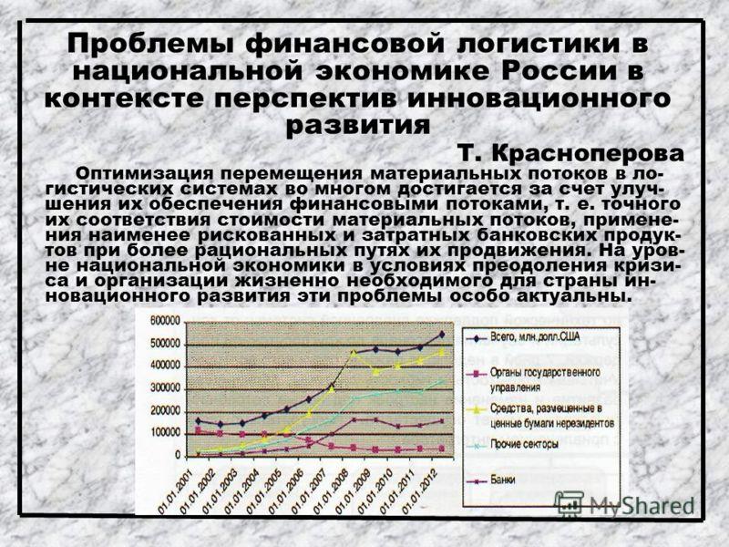 Проблемы финансовой логистики в национальной экономике России в контексте перспектив инновационного развития Т. Красноперова Оптимизация перемещения материальных потоков в ло- гистических системах во многом достигается за счет улуч- шения их обеспече