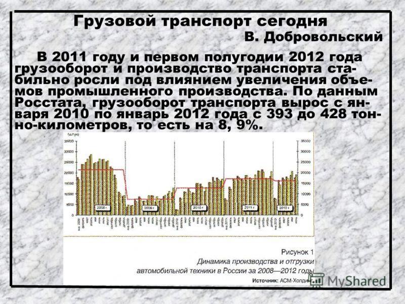 Грузовой транспорт сегодня В. Добровольский В 2011 году и первом полугодии 2012 года грузооборот и производство транспорта ста- бильно росли под влиянием увеличения объе- мов промышленного производства. По данным Росстата, грузооборот транспорта выро