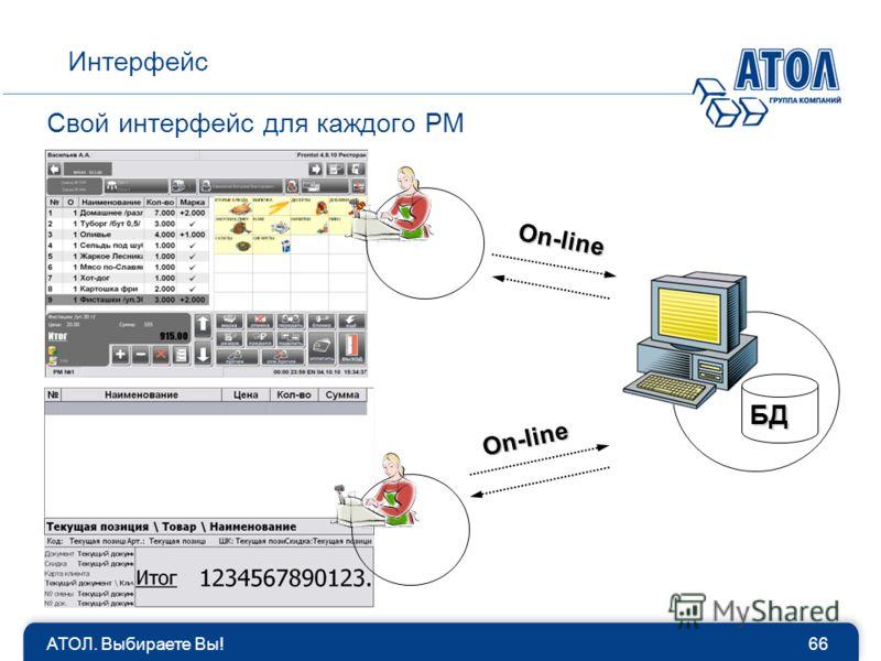 Свой интерфейс для каждого РМ 66АТОЛ. Выбираете Вы! Интерфейс БД On-line On-line