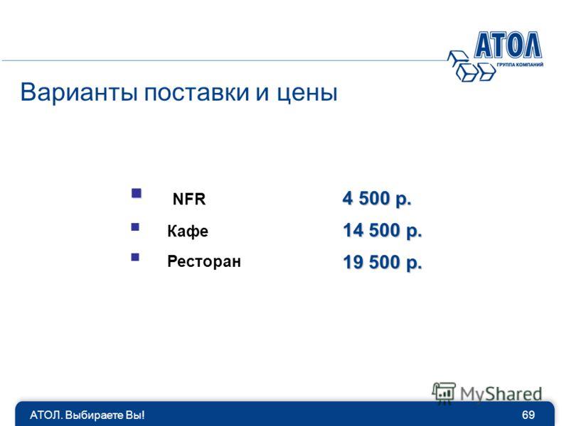 Варианты поставки и цены NFR Кафе Ресторан 4 500 р. 14 500 р. 19 500 р. 69АТОЛ. Выбираете Вы!