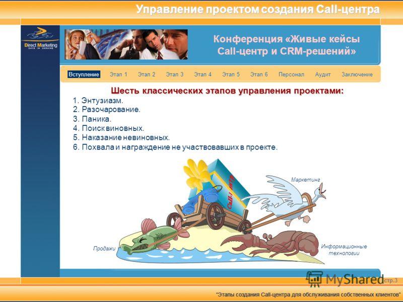 Конференция «Живые кейсы Call-центр и CRM-решений» стр.3 Вступление Этап 1 Этап 2 Этап 3 Этап 4 Этап 5 Этап 6 Персонал Аудит Заключение Управление проектом создания Call-центра Шесть классических этапов управления проектами: 1. Энтузиазм. Маркетинг И