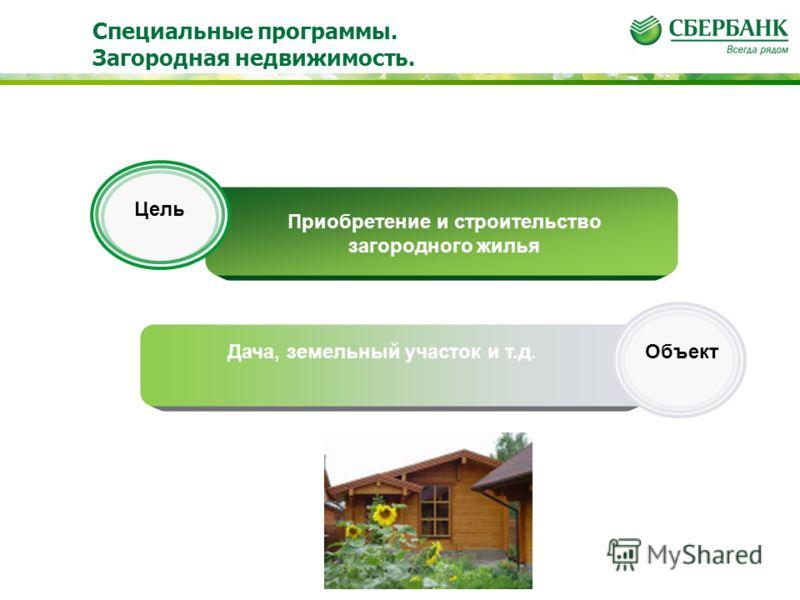 Приобретение и строительство загородного жилья Дача, земельный участок и т.д. Цель Объект Специальные программы. Загородная недвижимость.