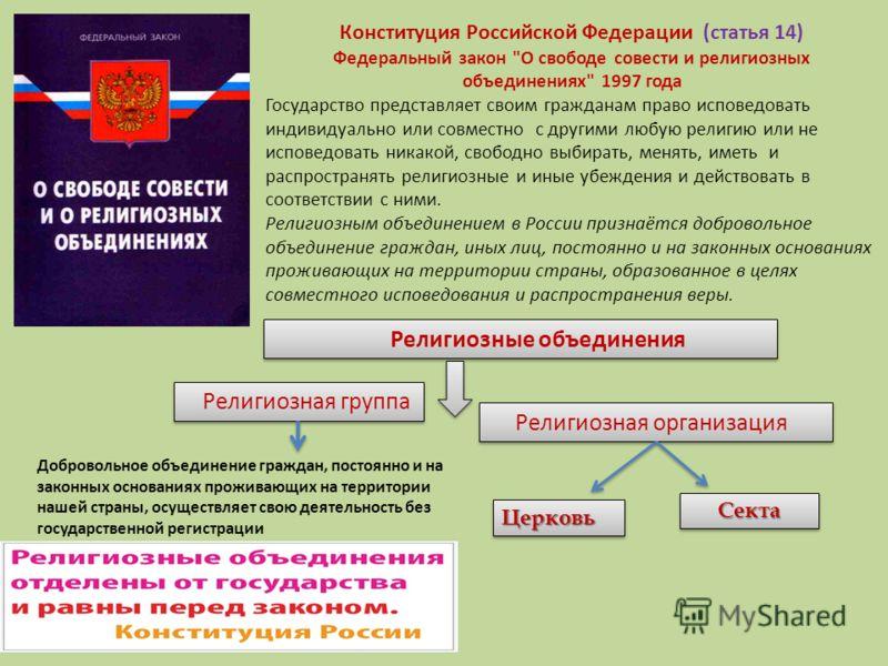 Конституция Российской Федерации (статья 14) Федеральный закон