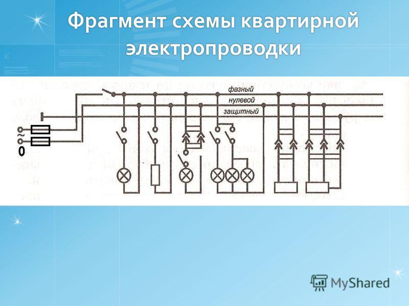 Фрагмент схемы квартирной электропроводки