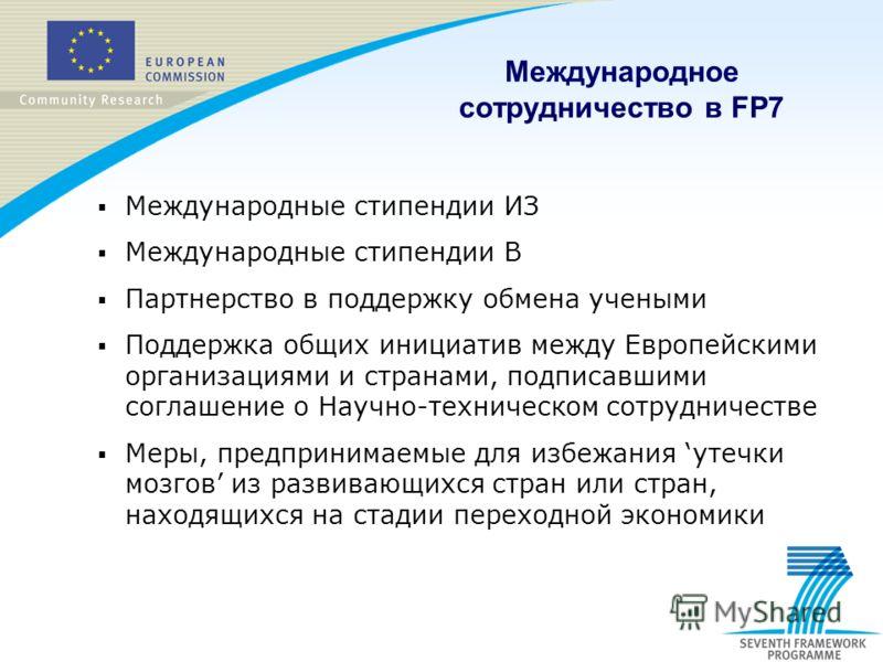 Международные стипендии ИЗ Международные стипендии В Партнерство в поддержку обмена учеными Поддержка общих инициатив между Европейскими организациями и странами, подписавшими соглашение о Научно-техническом сотрудничестве Меры, предпринимаемые для и