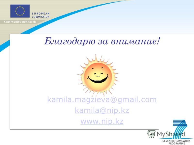 Благодарю за внимание! kamila.magzieva@gmail.com kamila@nip.kz www.nip.kz