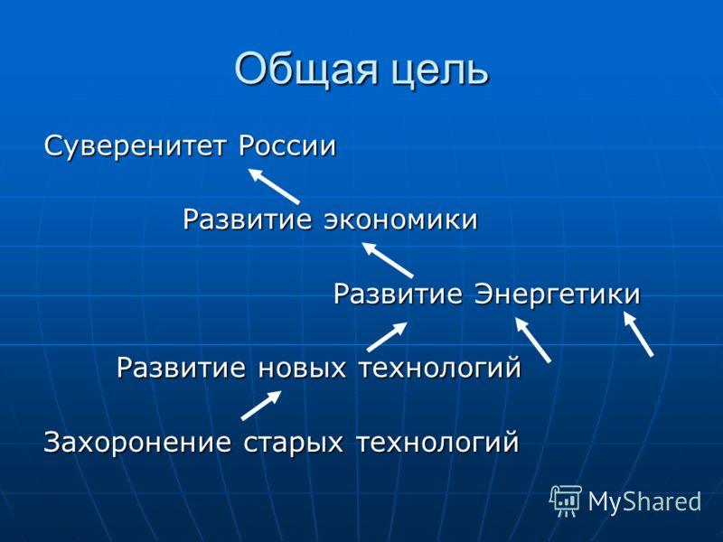 Общая цель Суверенитет России Развитие экономики Развитие экономики Развитие Энергетики Развитие Энергетики Развитие новых технологий Захоронение старых технологий