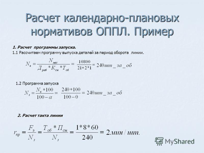 Расчет календарно-плановых нормативов ОППЛ. Пример 1. Расчет программы запуска. 1.1 Рассчитаем программу выпуска деталей за период оборота линии. 2. Расчет такта линии 1.2 Программа запуска