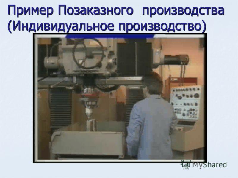 Пример Позаказного производства (Индивидуальное производство)