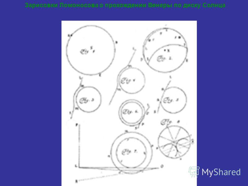 Зарисовки Ломоносова о прохождении Венеры по диску Солнца