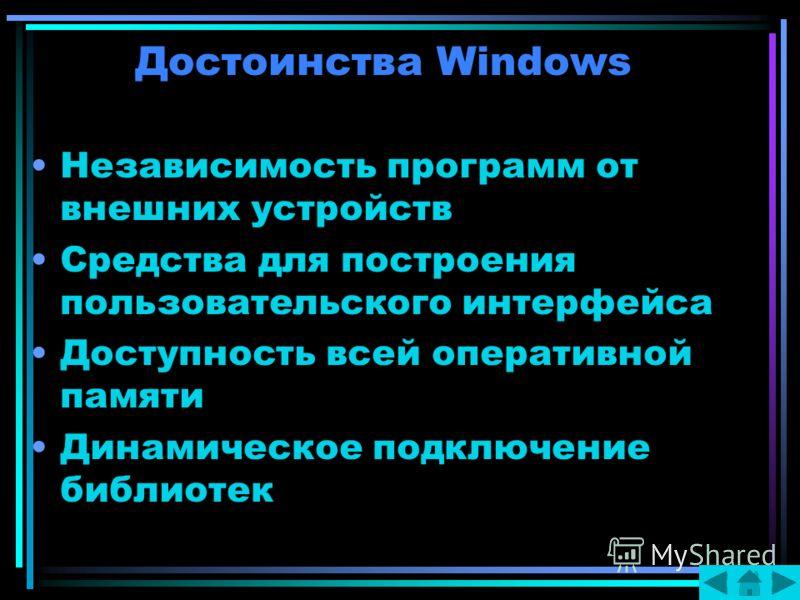 Достоинства Windows Независимость программ от внешних устройств Средства для построения пользовательского интерфейса Доступность всей оперативной памяти Динамическое подключение библиотек