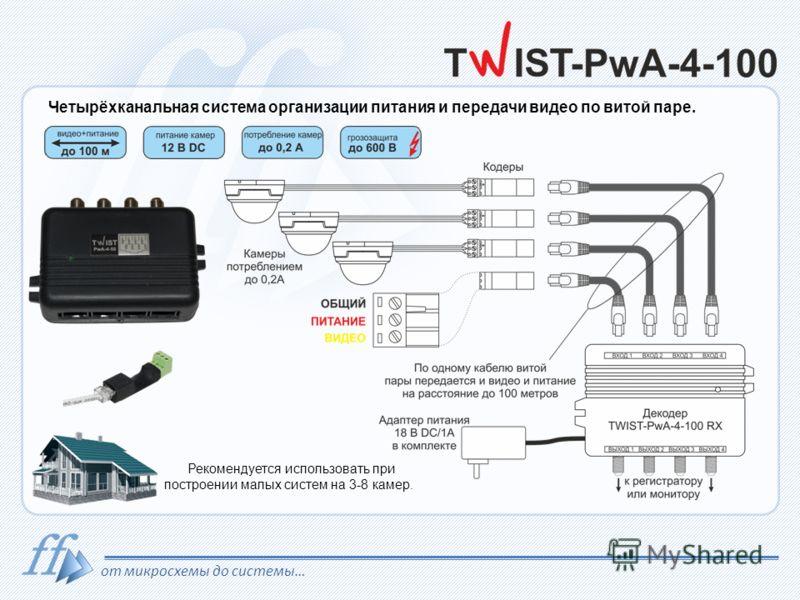 от микросхемы до системы… Четырёхканальная система организации питания и передачи видео по витой паре. Рекомендуется использовать при построении малых систем на 3-8 камер.
