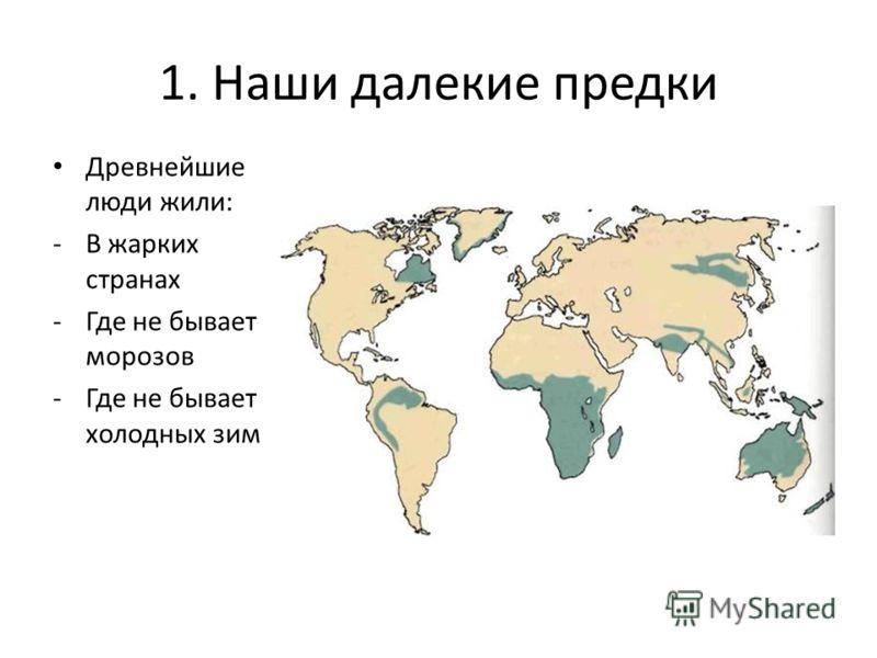 1. Наши далекие предки Древнейшие люди жили: -В жарких странах -Где не бывает морозов -Где не бывает холодных зим