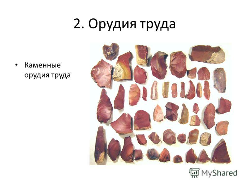 2. Орудия труда Каменные орудия труда