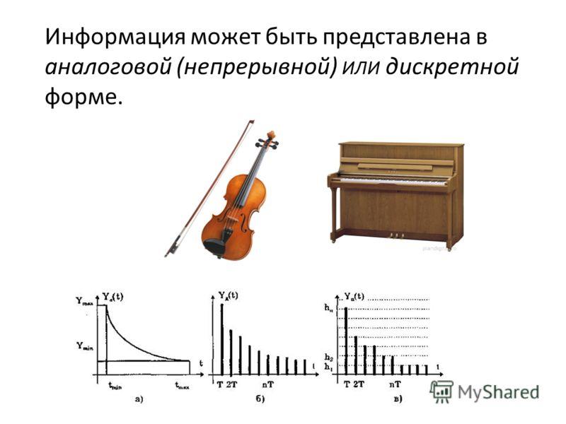 Информация может быть представлена в аналоговой (непрерывной) ИЛИ дискретной форме.
