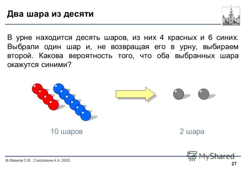 27 Иванов О.В., Соколихин А.А. 2005 Два шара из десяти В урне находится десять шаров, из них 4 красных и 6 синих. Выбрали один шар и, не возвращая его в урну, выбираем второй. Какова вероятность того, что оба выбранных шара окажутся синими? 2 шара10